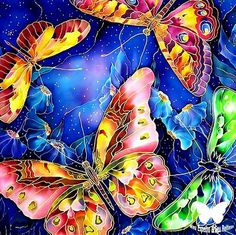 Beautiful painting on silk - Batik by Victoria Strelets - Beauty will save Fabric Painting, Fabric Art, Batik Art, Silk Art, Alcohol Ink Art, Butterfly Art, Butterflies, Beautiful Paintings, Painting Inspiration