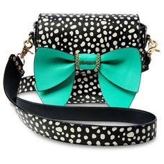 Betsey Johnson Black Polka Dot Oh Bow You Didnt Saddle Crossbody Bag (325 AED) ❤ liked on Polyvore featuring bags, handbags, shoulder bags, black polka dot, polka dot handbag, print purse, betsey johnson, crossbody purses and betsey johnson handbags