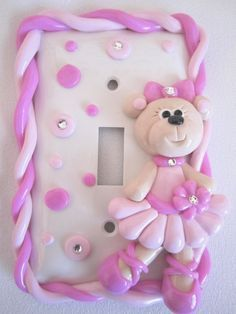 ballerina bear light switch cover www.starkyart.com Polymer Project, Polymer Clay Projects, Polymer Clay Creations, Switch Plate Covers, Light Switch Plates, Light Switch Covers, Fimo Clay, Polymer Clay Crafts, Clay Figures