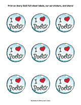 Cute printable 'sticker' for Poetry Month