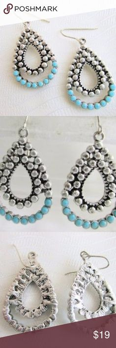 """Vintage Earrings, Tear Drops Vintage Turquoise Glass Nail Head Tear Drop Pendant Earrings Silver Plate Pierced.  Statement earrings. HIppie, boho chic.  Approx 1.5"""" x 1"""".  Comes in gift box. Bundle and save.  Happy Poshing.  Check out my other vintage pieces and bundle for a great deal.  Awesome Holiday gift idea for Christmas gift or Birthday gift  Vintage Jewelry, Vintage Turquoise, Vintage Bead, Glass Beads, Statement Jewelry Vintage Jewelry Earrings"""