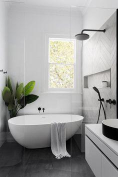 Black and White Bathroom Design . Black and White Bathroom Design . A Contrasting Black and White Bathroom Echoes the Floor Diy Bathroom, Bathroom Tile Designs, Bathroom Remodeling, Bathroom Vanities, Bathroom Cabinets, Remodeling Ideas, Bathroom Small, White Bathrooms, Budget Bathroom