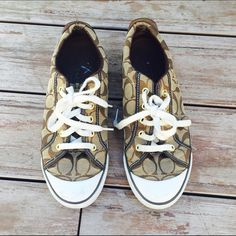 Classic Brown Coach Sneakers Excellent condition. Worn once. No stains or rips. Ships immediately! No trades at this time ❤️ Coach Shoes Sneakers