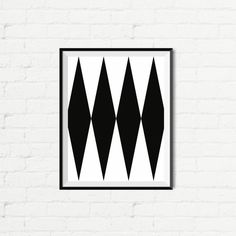 Printable Art Abstract Graphic Poster Black by curlybracketdesign