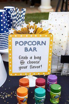 58 ideas for backyard party food ideas popcorn bar Backyard Movie Party, Outdoor Movie Party, Backyard Movie Nights, Outdoor Movie Birthday, Outdoor Movie Nights, Outdoor Parties, Movie Theater Party, Kids Movie Party, Movie Themed Parties