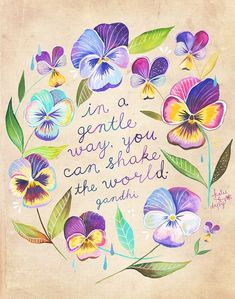 Shake The World Print Gandhi Quote Watercolor by thewheatfield