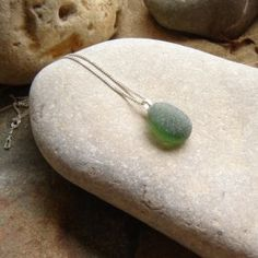 Green Frosted Sea Glass pendant Necklace SGSSP93 2