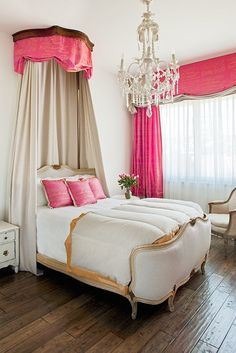 girly French Bedroom  - pink script fabric, bed. Change the color scheme, and it would look nice in a master suite.
