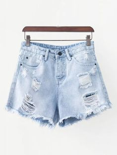 SheIn offers Frayed Hem Denim Shorts & more to fit your fashionable needs. T Shorts, Ripped Shorts, White Shorts, Casual Shorts, Cute Teen Shirts, Shirts For Teens, Tie Dye Tops, Summer Outfits, Cute Outfits