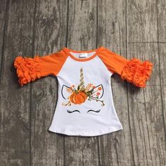 f5a740db3 Unicorn Harvest Pumpkin Ruffled Fall T-shirt - ARIA KIDS Baby Halloween  Costumes, Girl