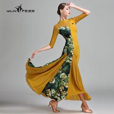 87327b06b4c Original Modern Dance Dresses For Lady Black Yellow Color Ice Silk Skirt  Square Fantasia Female Women Chacha Ballroom Dress