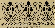 Iris frieze border stencil from Stencil Catalog, probably published by Alabastine Co., from early 1900s.