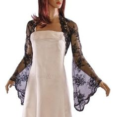 Grace and Flair Lace Long Bell Sleeve Bolero Shrug Black, Ivory, White Sizes 8-26: Amazon.co.uk: Clothing