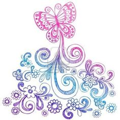 Butterfly and Flowers Sketchy Doodle Vector Stock Photo - 5080470