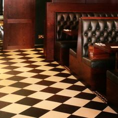 300mm checkerboard design with border. Cut by J De Bruyn Flooring. Installed by John Butler Flooring for The Delisserie, St Johns Wood, London. #marmoleum #flooring #checkerboard #tiles #debruyns