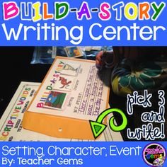 """Build-A-Story"" writing center full of writing prompts! Give students a prompt that triggers their memory and/or imagination and watch the ideas start to flow! #TeacherGems"