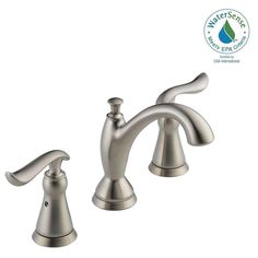 ... Home Depot. Delta Linden 8 In. Widespread 2 Handle Bathroom Faucet With  Metal Drain Assembly In
