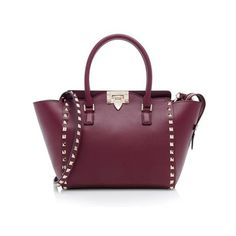 Rental Valentino Calfskin Small Rockstud Double Handle Tote ($250) ❤ liked on Polyvore featuring bags, handbags, tote bags, red, zip tote bag, red tote bag, purple tote bag, purple purse and over the shoulder purse