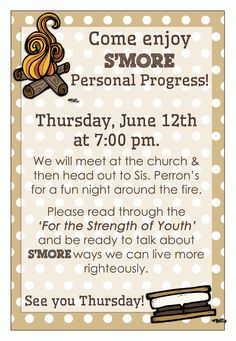 {Personal Progress} Integrity #1: S'mores Night - download LDS printables, object lessons, activity ideas, and teaching tips at Mormon Share.