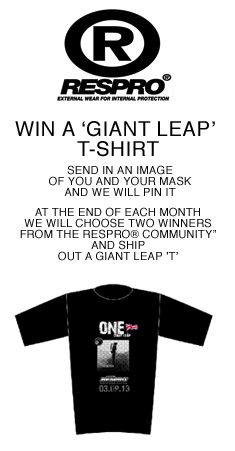 Win a 'giant leap' t-shirt. Email your Respro® mask selfie to resprogiantleap@gmail.com and we will pin your picture on our community board. At the end of each month we will choose two winners. #myrespromask