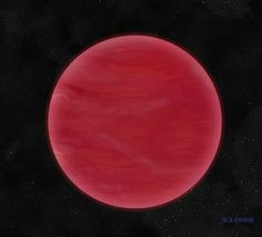 Artist's impression of a brown dwarf (ULAS J222711-004547) with an unusually thick layer of clouds, made of mineral dust. These thick clouds give the brown dwarf its extremely red colour. Picture credit: Neil J Cook, Centre for Astrophysics Research, University of Hertfordshire.
