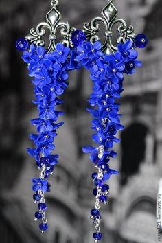 """Купить Серьги """"Шикарный синий"""" - тёмно-синий, синий, синие серьги, синие сережки, серьги"""