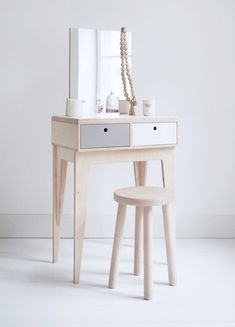 Beautiful Small White Vanity Stool