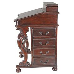 Design Toscano Solid Wood Secretary Desk with Hutch   Wayfair Secretary Desk With Hutch, Desk Hutch, Secretary Desks, Wood Writing Desk, Desks For Small Spaces, Mini Office, Brass Handles, Wood Construction, Wood Species