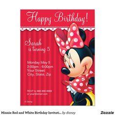 "Minnie Red and White Birthday Invitation 4.25"" X 5.5"" Invitation Card"