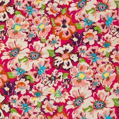 Floral Print Cotton Poplin 9431-4 Cerise Multi 145cm