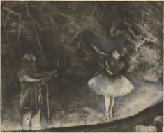 Edgar Degas (French, 1834–1917). The Ballet Master (Le Maître de ballet), c. 1876. White chalk or opaque watercolor over monotype on paper. Plate: 22 1/4 x 27 9/16 in. (56.5 x 70 cm), sheet: 24 7/16 x 33 7/16 in. (62 x 85 cm). National Gallery of Art, Washington, D.C. Rosenwald Collection, 1964.