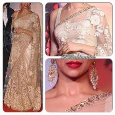 Nude and gold saree