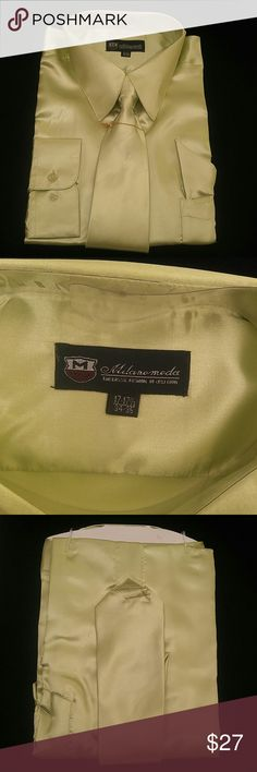 MEN'S DRESS SHIRT COMBO PACK BY MILANO MODA Combination shirt, tie, pocket square. Regular fit. Brand MILANO MODA Style:SG05 Lt. Olive Material:100% polyester satin rayon New in the bag      This shirt can be SPECIAL ORDERED in your size through Poshmark. Email me @shirtman48 for details. MILANO MODA Shirts Dress Shirts