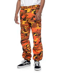 31e5237c230f3 Update your hidden style with the BDU savage orange camo cargo pants from  Rothco. These orange camo pants have been constructed for tactical and work  ...