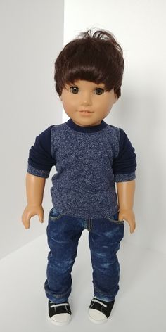 Toy Tips You Can Use When Shopping For Kids. Shopping for new toys is not easy, especially with all the choices. Ag Dolls, Girl Dolls, American Boy Doll, Boy Doll Clothes, Blue Shirts, Top Toys, Clothing Patterns, Cute Boys, Boy Outfits