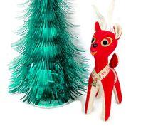 Vintage Christmas Reindeer 1960's Christmas by ThirstyOwlVintage