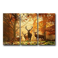 3 Piece Brown Wall Art Painting Deer In Autumn Forest Pictures Prints On Canvas Animal The Picture Decor Oil For Home Modern Decoration Print animal http://www.amazon.com/dp/B00L72IZO8/ref=cm_sw_r_pi_dp_Dnt4tb1649WH0