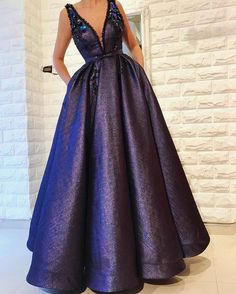elegant v-neck purple satin prom dress with pockets, fashion a-line evening dress with appliques