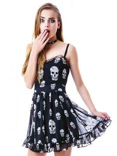 Black Spaghetti Strap Skull Print Dress