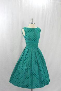 1950's Tiffany blue polka dot dress @Tiffany Everett Lea