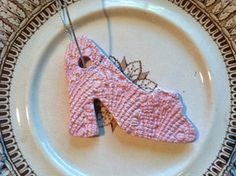 Christmas Ornament Ceramic Light Pink Shoe Heel by RoyalDescent Pink Christmas Ornaments, Pink Christmas Decorations, Ceramic Light, Shoe Art, Dry Brushing, Ceramic Decor, Cute Little Girls, Pink Shoes, Tree Branches
