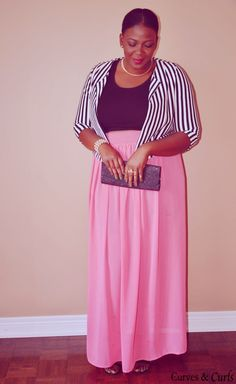 Coral maxi skirt, black prime and black&white stripped blazer....  Find out more by clicking the image