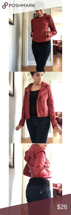 """Vegan """"leather"""" hooded jacket Timeless and cool. Deep red vegan leather hooded jacket by Jack. Super-sleek. Two pockets, zipper-- wear it open or zipped up. Tailored and fitted. Excellent used condition. I can't find the ModCloth style name. ModCloth Jackets & Coats"""