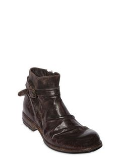 SHOTO, Vintage effect washed leather boots, Brown, Luisaviaroma