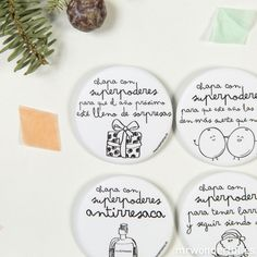 Chapas mate con superpoderes para Navidad #mrwonderful  #budges #funny #events #superpowers #christmas