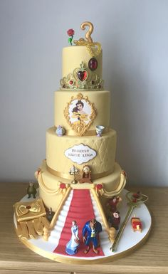 A Round up of our Favourite Princess Birthday Decorations and DIYs Beauty And The Beast Wedding Cake, Beauty And Beast Birthday, Beauty And The Beast Theme, Wedding Beauty, Beauty Beast, Pretty Cakes, Cute Cakes, Beautiful Cakes, Amazing Cakes
