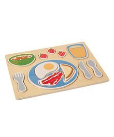 Breakfast is served, and it comes with a side of educational play! Each piece of this colorful tray is part of a well-balanced meal, from eggs and bacon to orange juice and toast. The chunky, raised pieces are easy to grasp and can stand on their own, so little ones' fine motor skills and imagination can develop as they play. Let's eat!