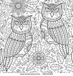Cute flower seamless pattern with owls. Abstract garden print with owls and flowers. Black and white outline background. Monochrome leaf pattern