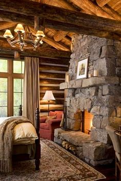 Cozy Cabin Bedroom - LOVE the stone fireplace! Guest Cabin, Cozy Cabin, Winter Cabin, Cozy Cottage, Log Home Bedroom, Bedroom Fireplace, Master Bedroom, Fireplace Design, Cabin Fireplace