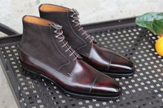 """meccariello-calzoleria: """"Meccariello"""" standard line. Derby boots made with hand coloured crust leather and suede."""